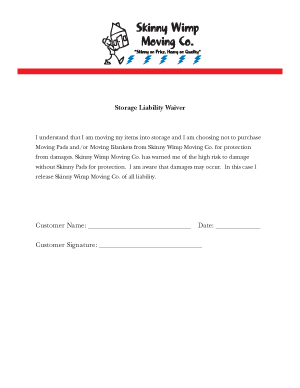 Storage Liability Form
