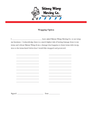 Wrapping Option Form